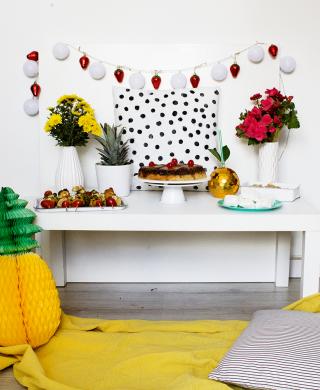 festa tropical decoração