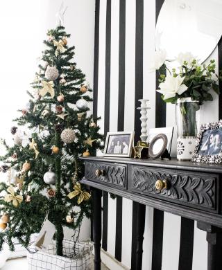 decoração de natal preta e branca